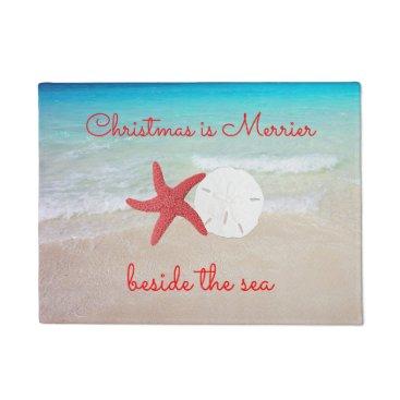 Beach Themed Beach Christmas Merrier by the Sea Door Mat