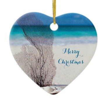 Christmas Themed Beach Christmas Ornaments Heart Coral