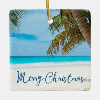 Beach Christmas Ornaments Square Ceramic Plam Tree