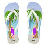 Beach Christmas Palm Tree Surfboard Flip Flops