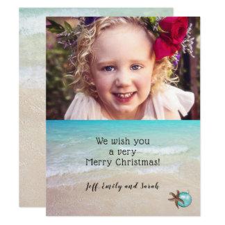 Beach Christmas Photo Card Starfish Design