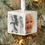 """Beach Christmas Photo Collage Cube Ornament<br><div class=""""desc"""">Starfish and palm fronts,  photo collage cube Christmas ornament.  Add four photos of the kids,  family,  pets,  new baby,  new home,  or whatever to this cube with custom text on the top and bottom. Little white starfish are the background design on top,  with green palm fronds on the bottom.</div>"""