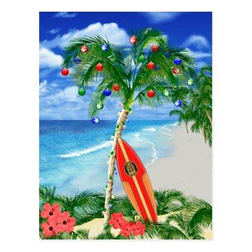 Beach Themed Beach Christmas Postcard