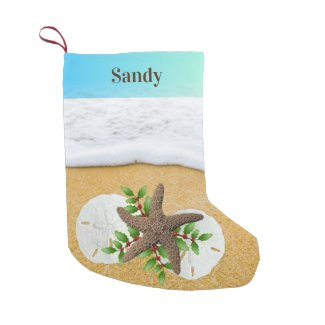 Beach Christmas Sand Dollars Double Sided Small Christmas Stocking