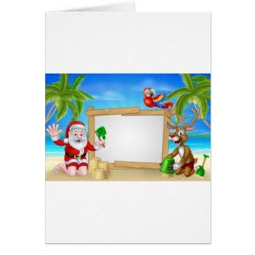 Beach Themed Beach Christmas Santa and Reindeer Card