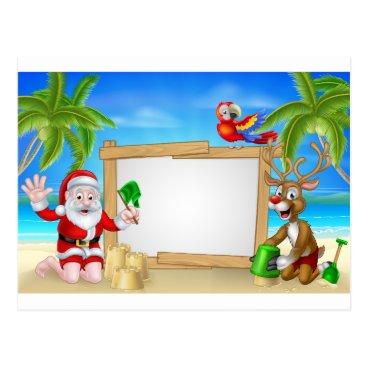 Beach Themed Beach Christmas Santa and Reindeer Postcard