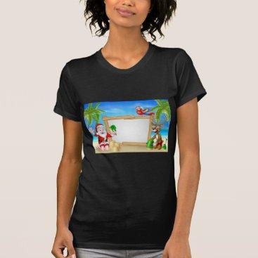 Beach Themed Beach Christmas Santa and Reindeer T-Shirt