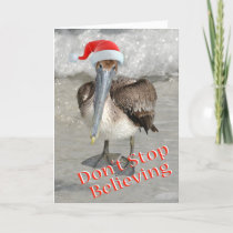 Beach Christmas Santa Pelican Holiday Card
