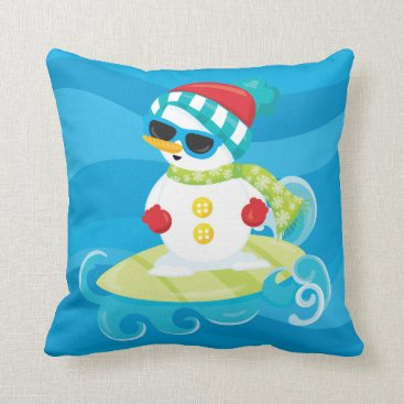 Beach Themed Beach Christmas snowman surfing pillow