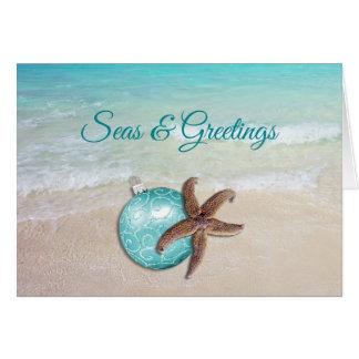 Beach Christmas Starfish Seas n Greetings Card