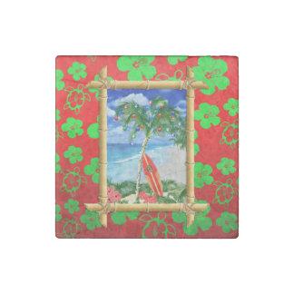 Beach Christmas Stone Magnet