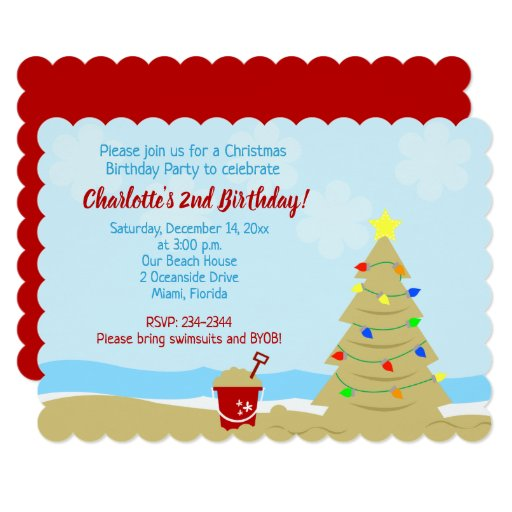 Beach Christmas Tree Birthday Invitation