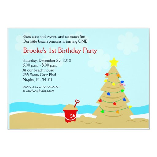 Beach Christmas Tree Castle 5x7 Custom Invitation