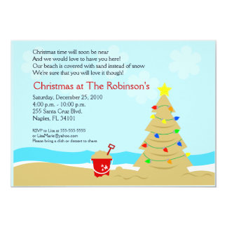 Beach Christmas Tree Castle 5x7 Custom Invitation