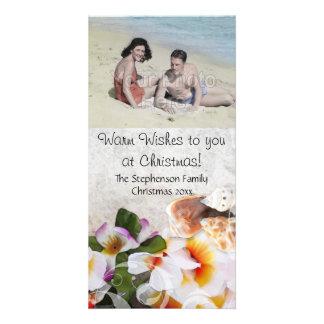 Beach Christmas Warm Wishes Flowers Shells Card