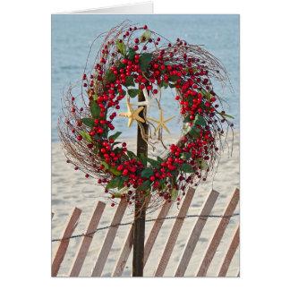 Beach Christmas wreath Card
