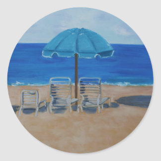 beach classic round sticker