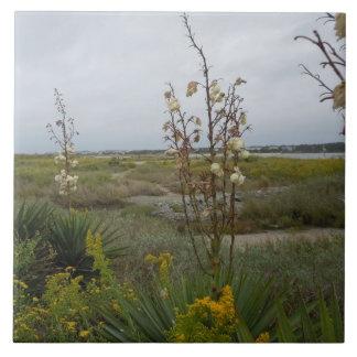 Beach Clouds and Wildflowers - Oak Island, NC Ceramic Tile