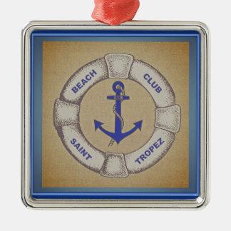 Beach Club Saint Tropez Nautical Sign Metal Ornament