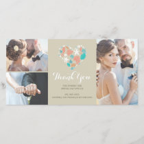 Beach Coastal Nautical Heart Wedding Thank You