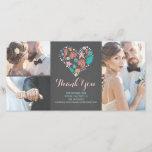 "Beach Coastal Nautical Heart Wedding Thank You<br><div class=""desc"">Sea treasures beach chalkboard heart wedding photo cards with 3 photos from your special day</div>"