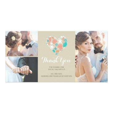 Valentines Themed Beach Coastal Nautical Heart Wedding Thank You Card