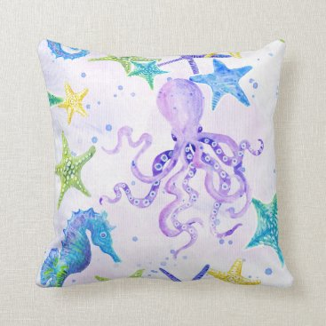 Beach Themed Beach Coastal Seashore Octopus Seahorse Starfish Throw Pillow