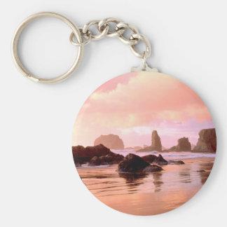 Beach Coastal Sunset Face Rock Bandon Keychain