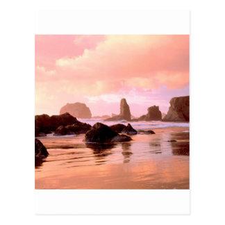 Beach Coastal Sunset Face Rock Bandon Post Cards