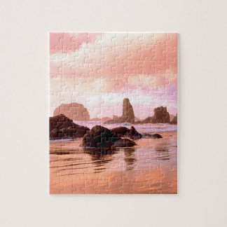 Beach Coastal Sunset Face Rock Bandon Puzzle