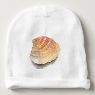 Beach Themed Beach Cockle Sea shell, yellow and orange Baby Beanie