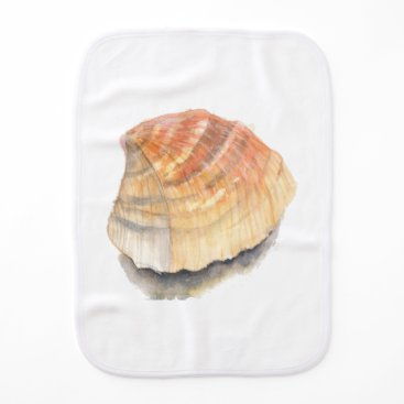 Beach Themed Beach Cockle Sea shell, yellow and orange Burp Cloth
