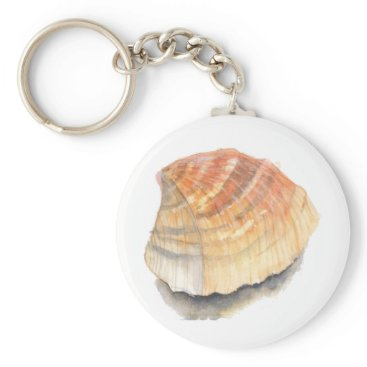 Beach Themed Beach Cockle Sea shell, yellow and orange Keychain