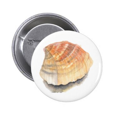 Beach Themed Beach Cockle Sea shell, yellow and orange Pinback Button