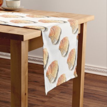 Beach Themed Beach Cockle Sea shell, yellow and orange Short Table Runner