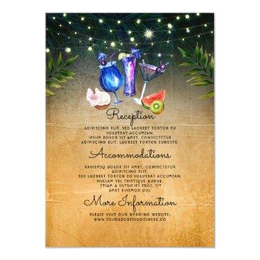 Beach Themed Beach Cocktails Wedding Information Guest Card