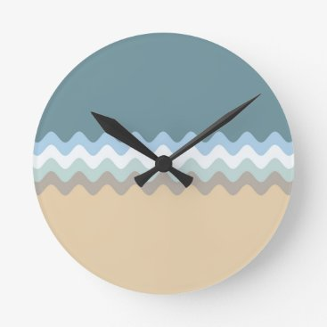 Beach Themed Beach Colors Light Brown/Sand/Beige/Turquoise/Blue Round Clock