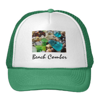 Beach Comber Truckers Hats Green Seaglass Agates