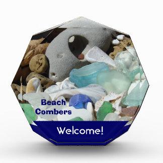 Beach Combers Welcome Sign Plaque Blue Sea Glass Award