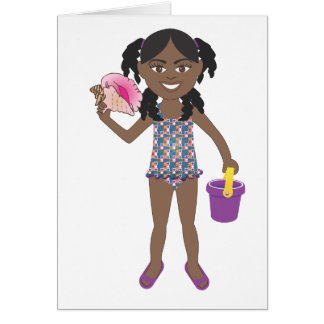 Beach Conch Shell Girl Card