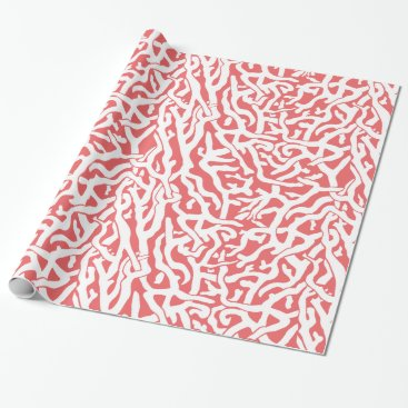 Beach Themed Beach Coral Reef Pattern in Coral Pink and White Wrapping Paper