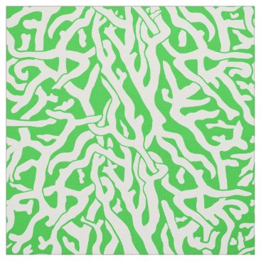 Beach Themed Beach Coral Reef Pattern in Lime Green and White Fabric