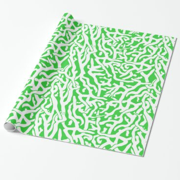 Beach Themed Beach Coral Reef Pattern in Lime Green and White Wrapping Paper
