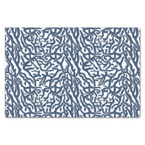 Beach Coral Reef Pattern Nautical Navy White V2 Tissue Paper