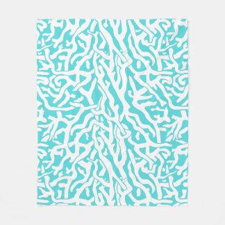 Beach Coral Reef Pattern Nautical White Aqua Blue Fleece Blanket