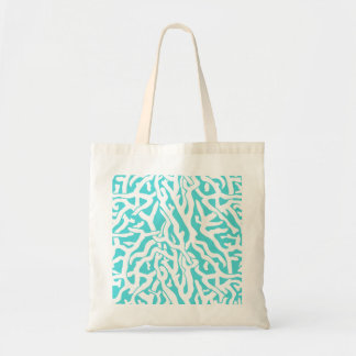 Beach Coral Reef Pattern Nautical White Blue Budget Tote Bag