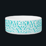 """Beach Coral Reef Pattern Nautical White Blue Bowl<br><div class=""""desc"""">This pretty ocean / beach-inspired repeating nautical pattern looks like an intricately-woven coral reef in white on a beachy - blue background. The elegant coral reef pattern is done in a stencil look. The color of blue is reminiscent of bright, clear tropical seas. This simple, modern design is perfect for...</div>"""
