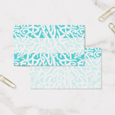 Beach Coral Reef Pattern Nautical White Blue Business Card at Zazzle