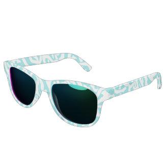 Beach Coral Reef Pattern Nautical White Blue Sunglasses