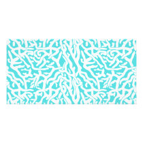 Beach Coral Reef Pattern Nautical White Blue Card